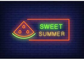 甜美的夏日霓虹灯文字与西瓜片相框季节性_2767095