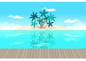 用于视频通信的手掌和海洋背景_8968536