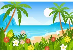 用于视频通信的手掌和海滩背景_8968533