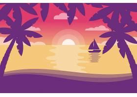 用于视频通信的棕榈夏日背景的轮廓_8968528