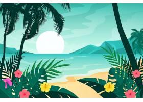 用于视频通信的沙滩沙滩和海浪背景_8968527