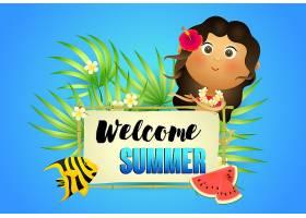 用土著妇女和西瓜迎接夏天的字样_4561288