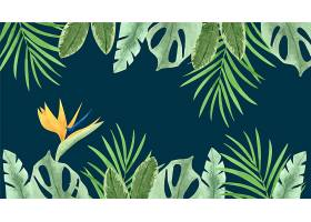 用于缩放的热带树叶背景_9008953