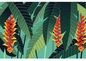 用于缩放的热带树叶背景_9010519