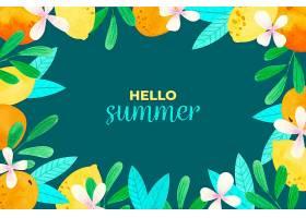 水彩画夏季背景概念_8398696