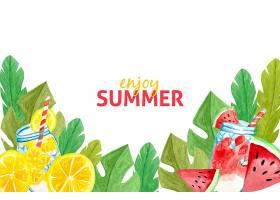水彩画夏季背景概念_8398697