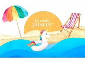 水彩画夏季背景概念_8398698