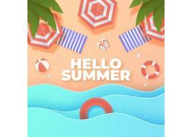 沙滩上的纸质夏日背景_8247829