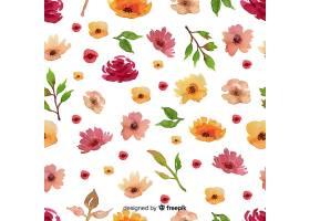 水彩画花卉无缝图案背景_5445530