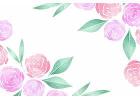 水彩粉色玫瑰花背景_6842949