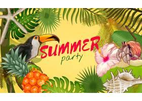 热带夏日派对邀请函设计_3226016