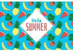 异国情调的水果手绘夏日背景_8304434