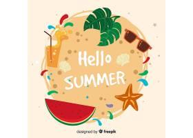手绘你好夏日背景_4595860