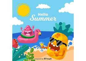 手绘夏季背景_4305230