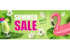 夏季促销热销折扣横幅上面有棕榈叶和鲜花_2541766