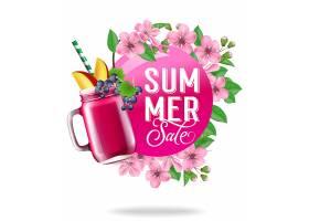 夏季促销的季节性海报有鲜花树叶和水果_2542093