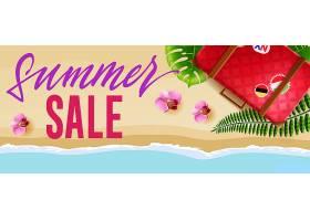 夏季促销的季节横幅上有鲜花旅行袋和海滩_2542090