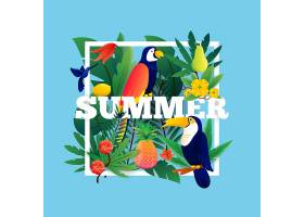 夏季热带背景配植物水果和鸟类插图_3834778