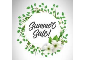 夏季特卖会上用小树枝和鲜花围成一圈提供_2438906