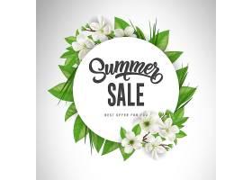 夏季特卖会上用白花和白叶围成一圈提供或_2438907