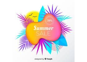 夏季特卖液形状和热带树叶背景_4651351