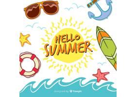 夏季背景手绘元素_4525101