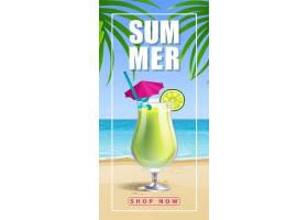 夏日商店现在与海滨和鸡尾酒相框_2542134