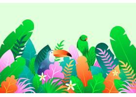 夏季背景有鹦鹉和巨嘴鸟_8375262