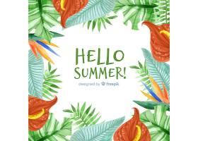 夏季背景热带植物框架_4525096