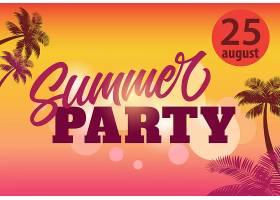 夏日派对8月25日带有棕榈剪影和日落的_2766947