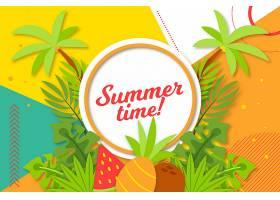 五颜六色的夏日背景棕榈树_8271290