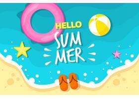 五颜六色的夏日背景海滩和星星_8375283