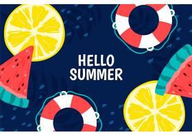 五颜六色的夏日背景配上柑橘和西瓜_8445262