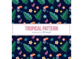 五颜六色的热带图案带图章和树叶_2742405