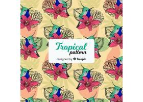 五颜六色的热带图案有鳞茎和花朵_2742409