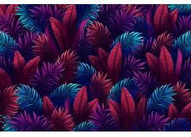 五颜六色的热带树叶夏日背景_8247865