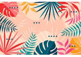 五颜六色的热带树叶背景_7872351