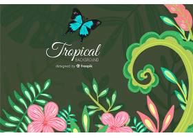 五颜六色的热带背景带着叶子和鲜花_2742410