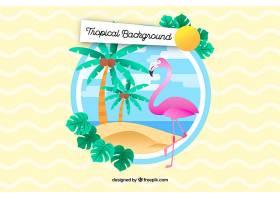 五颜六色的热带背景平面设计_2686935
