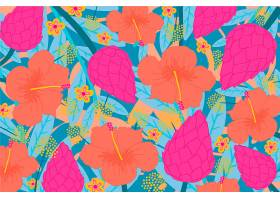 五颜六色的热带花卉背景_6584545