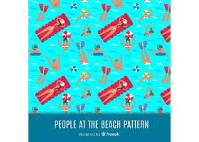 人们在海滩上看着花样_4518122