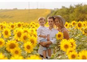 幸福的年轻家庭母亲父亲和儿子在向日_9409644