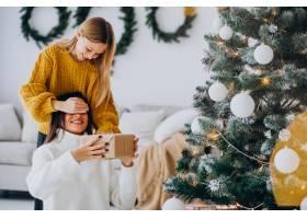 女儿在圣诞节给母亲做礼物惊喜_12177338