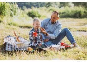 父亲带着儿子在公园野餐_5496275