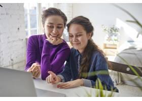 快乐快乐的年轻母女用笔记本电脑在网上购物_10897793