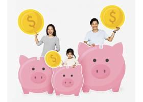 存钱罐里存钱的幸福家庭_3533862