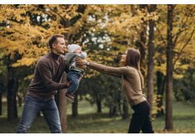 公园里带着小儿子的年轻家庭_11601316