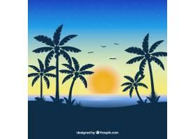 以日落为背景的热带海滩_2629339