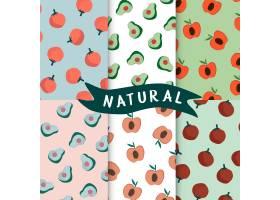 一套天然水果无缝图案矢量_3438258