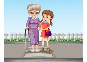 一个女孩扶着奶奶过马路_4124656